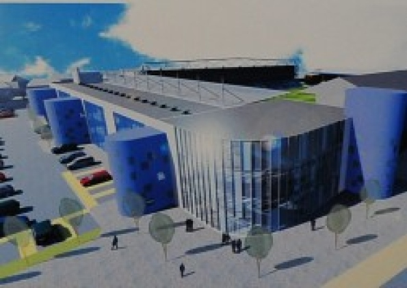 An artist's impression of how the Moy's End Stand would look after the work is completed