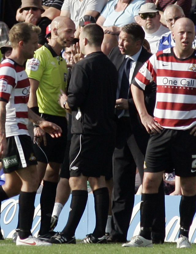 Darren Ferguson (Peterborough United) makes his feelings known to match referee