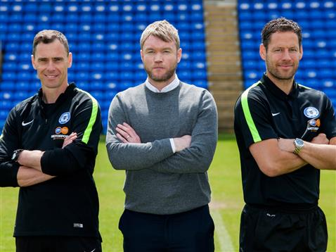 Grant McCann with under 21 coach Dave Farrell and goalkeeper coach Mark Tyler