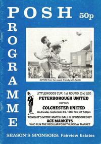 1986-87 Littlewoods Cup 1st Round Programme - Posh v Colchester