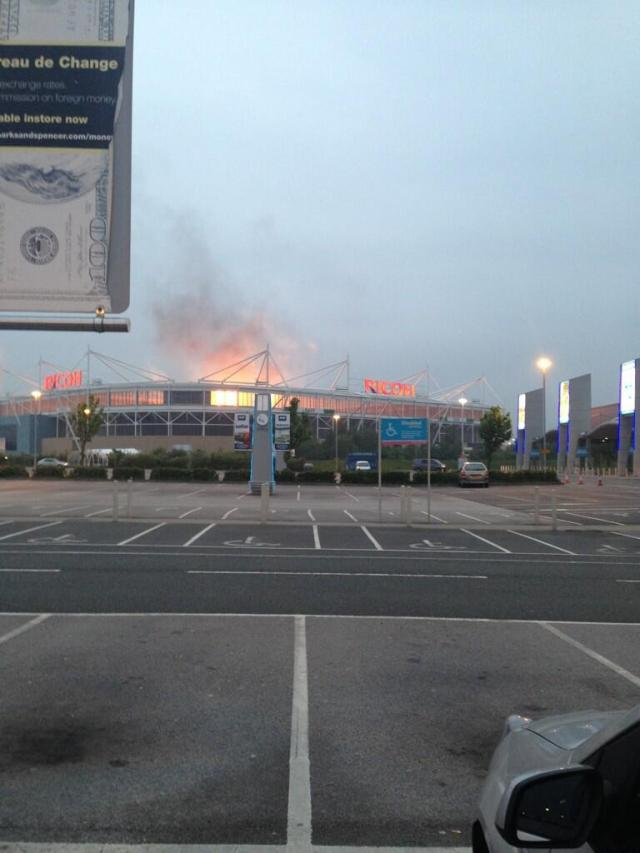 Ricoh Arena on fire 2