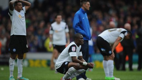 Gutted Posh players after the match which relegated them to League One