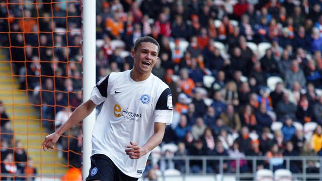Kane Ferdinand celebrating his first Posh goal