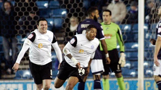 Mendez-Laing celebrating his goal against Millwall