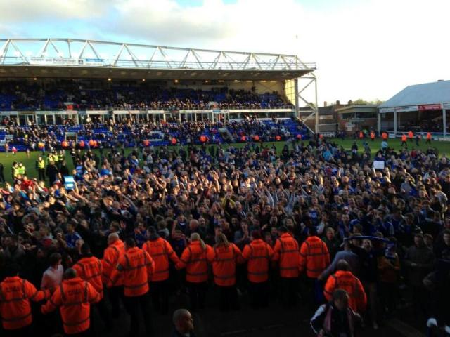 Posh fans at end of match