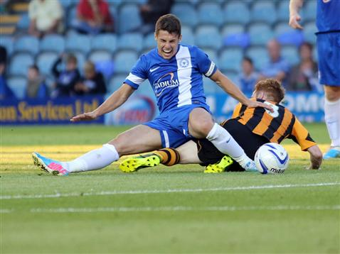 Posh v Hull - Tommy Rowe gets clattered