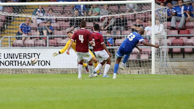 Tyrone Barnett scoring goal against Cobblers