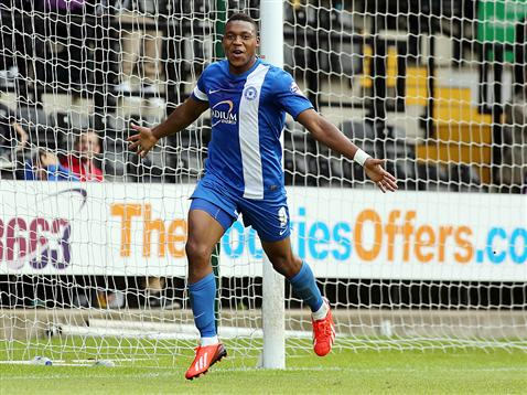 Britt Assombalonga celebrating v Notts County