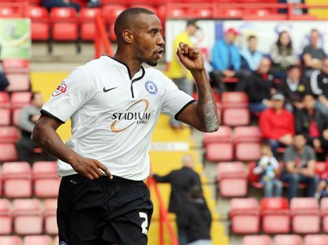 Tyrone Barnett celebrates his goal v Bristol City