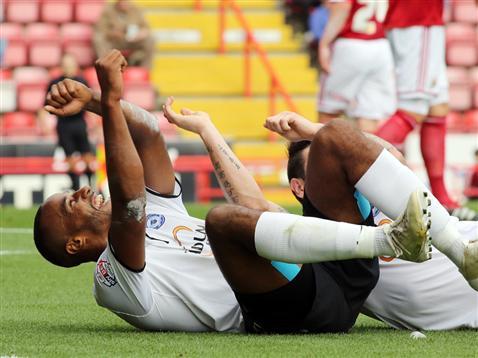 Tyrone Barnett celebrating v Bristol City