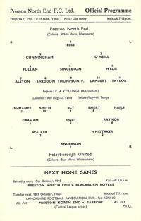 11-10-1960 Preston 4-1 Posh - League Cup 1st Round - Programme