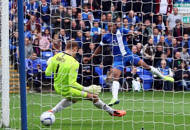 Britt Assombalonga scores second Posh goal v MK Dons