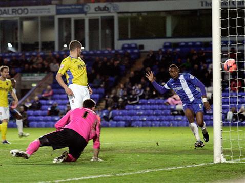 Britt Assombalonga scoring v Exeter
