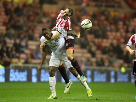 Britt Assombalonga v John O'Shea of Sunderland 2