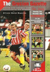 Exeter City v Posh 1995-96 FA Cup programme