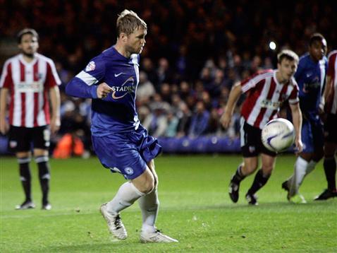 Grant McCann penalty v Brentford