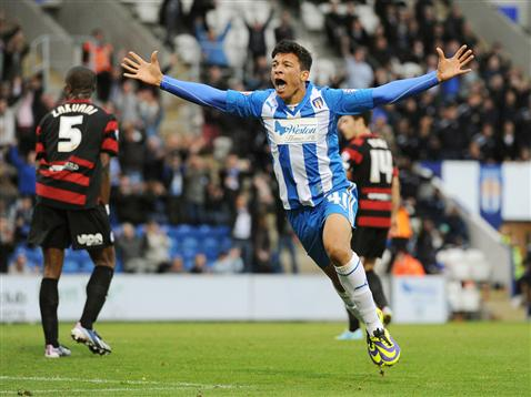 Macauley Bonne celebrates his match winner on his 18th birthday