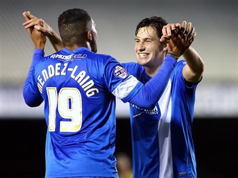 Nathaniel Mendez-Laing and Joe Newell celebrate v Exeter City