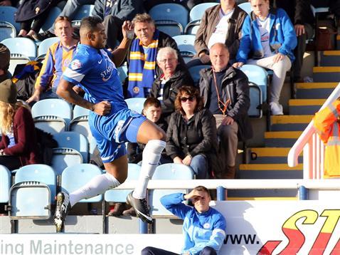 Nathaniel Mendez-Laing celebrating only goal of game v Shrewsbury