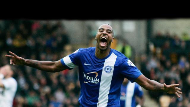 Tyrone Barnett celebrates scoring the winner v Port Vale