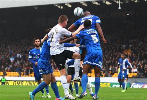 Tyrone Barnett defending corner v Port Vale