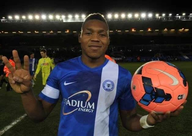 Britt Assombalonga with match ball v Tranmere