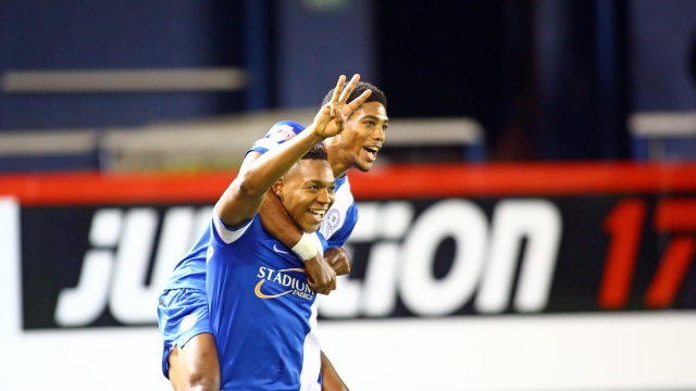 Goal scoring duo celebrate Britts third goal v Tranmere