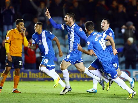 Michael Bostwick celebrates his goal v Wolves
