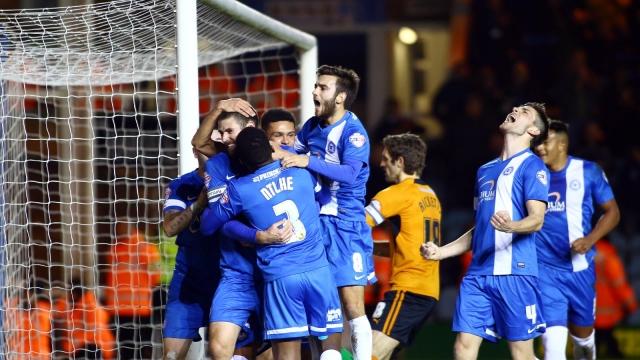 Posh players celebrating Bostwicks goal v Wolves