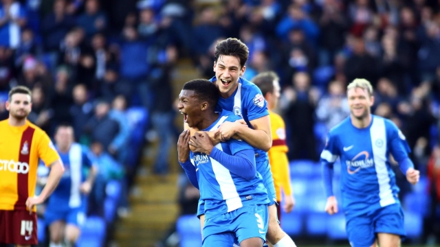 Kgosi Ntlhe celebrating his strike v Bradford City