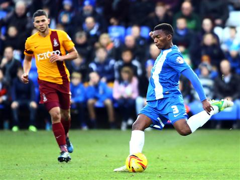 Kgosi Ntlhe strikes for goal v Bradford City