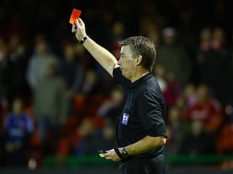Mark Haywood sending off Lee Tomlin v Swindon