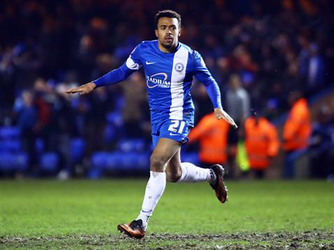 Nicky Ajose celebrating 1 of 3 goals v Notts County