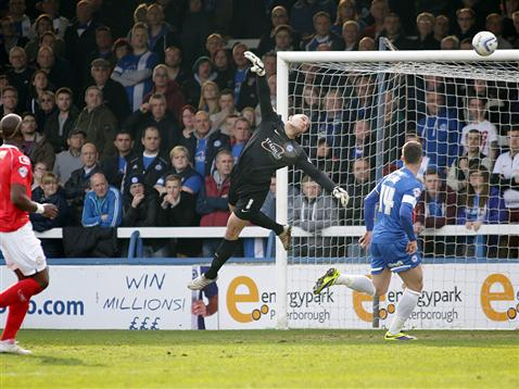 Bobby Olejnik in flight v Crewe