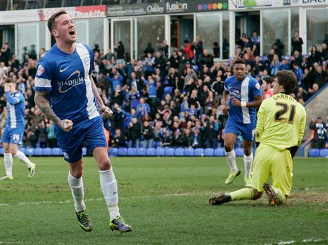 Danny Swanson celebrates his goal v Crewe