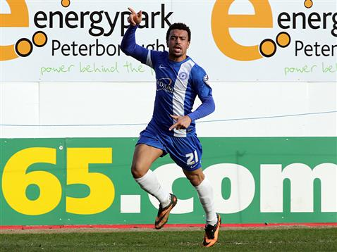 Nicky Ajose celebrates his goal v Crewe