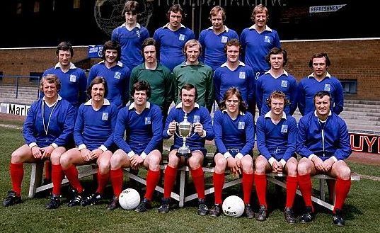 1974-75 League Division Three Peterborough United photocall with Division Four trophy 2