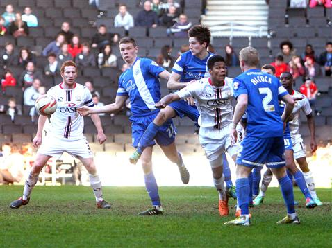 Jack Baldwin with Ben Nugent and Craig Alcock v MK Dons
