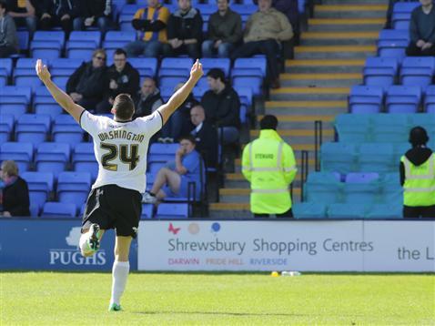 Conor Washington celebrates his goal v Shrewsbury