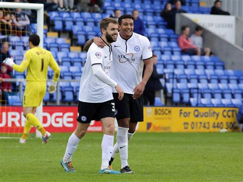 Josh McQuoid celebrates his goal with Nathaniel Mendez-Laing v Shrewsbury 2