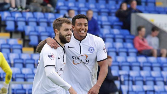 Josh McQuoid celebrates his goal with Nathaniel Mendez-Laing v Shrewsbury
