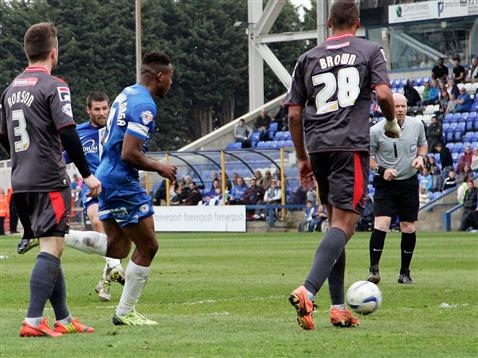 Michael Bostwick scores v Carlisle