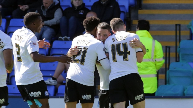 Posh players celebrate Conor Washingtons goal v Shrewsbury