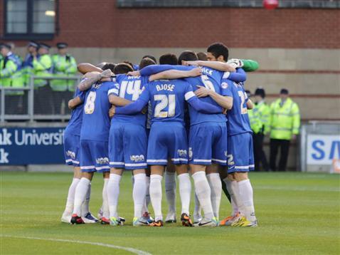 Posh pre-match huddle v Leyton Orient