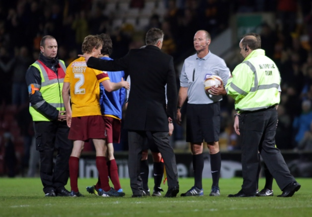 Referee Andy Haines with Darren Ferguson after Bradford match