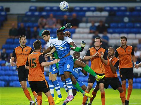 Jack Baldwin and Britt Assombaloga aerial battle v Wolves