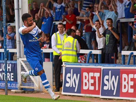 Kyle Vassell celebrates his goal v Brighton