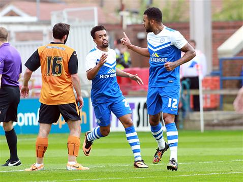 Kyle Vassell celebrates his goal with Nicky Ajose v Wolves