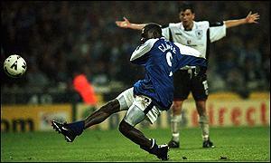 Andy Clarke scores the Wembley winner v Darlington