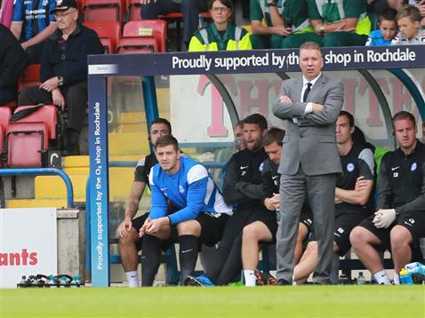 Darren Ferguson in dugout at Rochdale